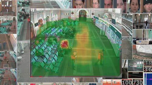 videoanalitica23.jpg Видеоаналитика от Спецлаб в своей основе базируется на видеостатистике. Она сравнивает предыдущие данные с поступающими, отыскивая в них отличия. Например, на одной из камер вы можете видеть включенной карту активности, которая красным цветом помечает наиболее загруженные движением участки, желтым - менее, зеленым - совсем редкие. По сути, резкое изменение этой карты может сигнализировать о появлении толпы (там, где ее не было), активных действий